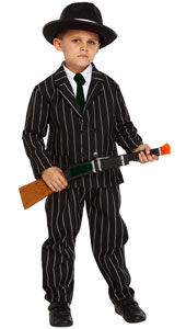 Child Gangster Dress Up Costume includes jacket, trousers and tie