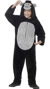 Gorilla Costume includes all in one jumpsuit with hood.