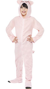 Childs Pig Costume includes all in one jumpsuit with hood.