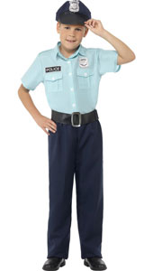 Child Police Officer Costume includes shirt, trousers, belt and hat.