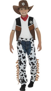 Child Texan Cowboy Costume includes hat, necktie, waistcoat, badge and chaps.