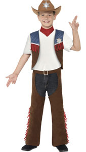 Child Texan Cowboy Costume includes waistcoat, chaps, neck tie and hat.