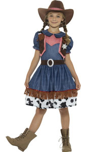 Child Texan Cowgirl Costume includes dress with attached waistcoat and hat.