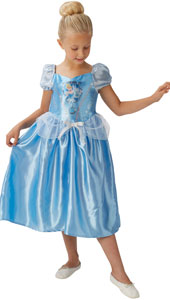 Fairytale Cinderella Girls Dress Up Costume includes blue satin dress with puff sleeves and glitter organza peplum.