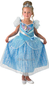Disney Shimmer Cinderella Costume includes dress and tiara.