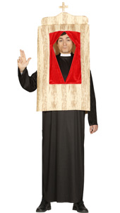 Confessional Priest Costume includes tunic and confessional box tabard