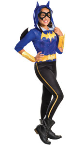 DC Super Hero Batgirl Costume includes hooded jumpsuit with attached wings, belt, gauntlets and mask.