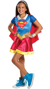 DC Super Hero Supergirl Costume includes dress, cape headband and two wristbands.