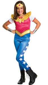 DC Super Hero Wonder Woman Costume includes jumpsuit with attached belt, tiara and gauntlets.
