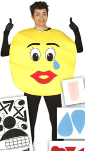 Emoji Costume includes yellow tabard and stick on face pieces