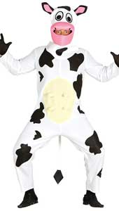 Adult Cow Costume includes hood and jumpsuit with tail.