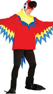 Adult Parrot Costume includes hood, tunic and feet.
