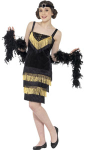 Flapper Girl Costume includes dress and headband.  Feather Boa sold separately.