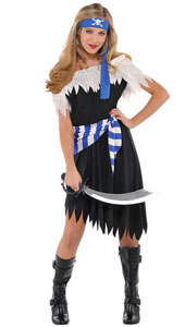Shipwreck Cutie Costume includes dress, waist tie and head sash.