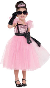 Glam Princess Costume includes dress, tiara sunglasses and gloves.