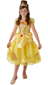 Storyteller Golden Belle Costume includes satin dress with a character cameo and sparkly glitter storybook detail and tiara.