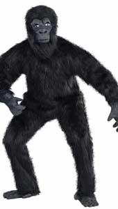 Gorilla Costume features a full body jumpsuit coated with thick black faux fur and equipped with a zipper in the back.  An overhead gorilla mask with moulded vinyl face, matching hands, and gorilla foot shoe covers complete the outfit.