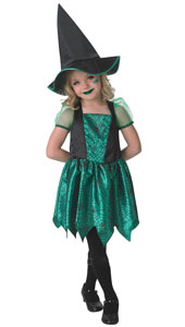 Green Spider Witch Costume includes dress and hat.