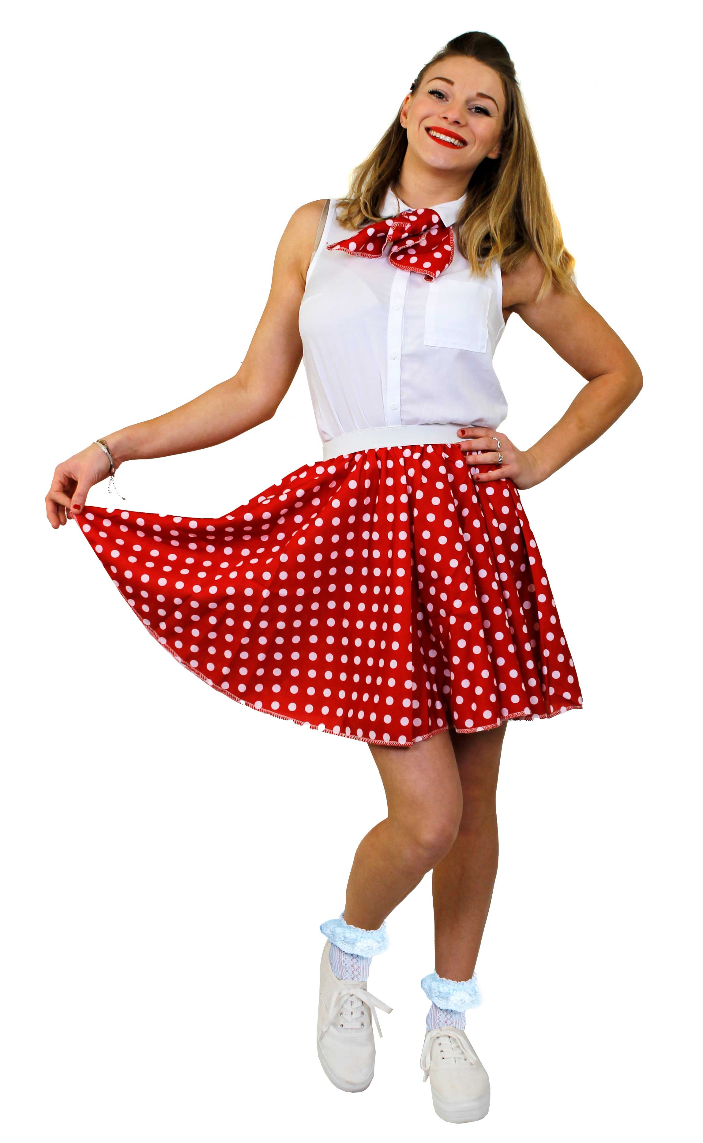 RED POLKA DOT SKIRT WITH WHITE SPOTS /& SCARF 1950S ROCK AND ROLL FANCY DRESS