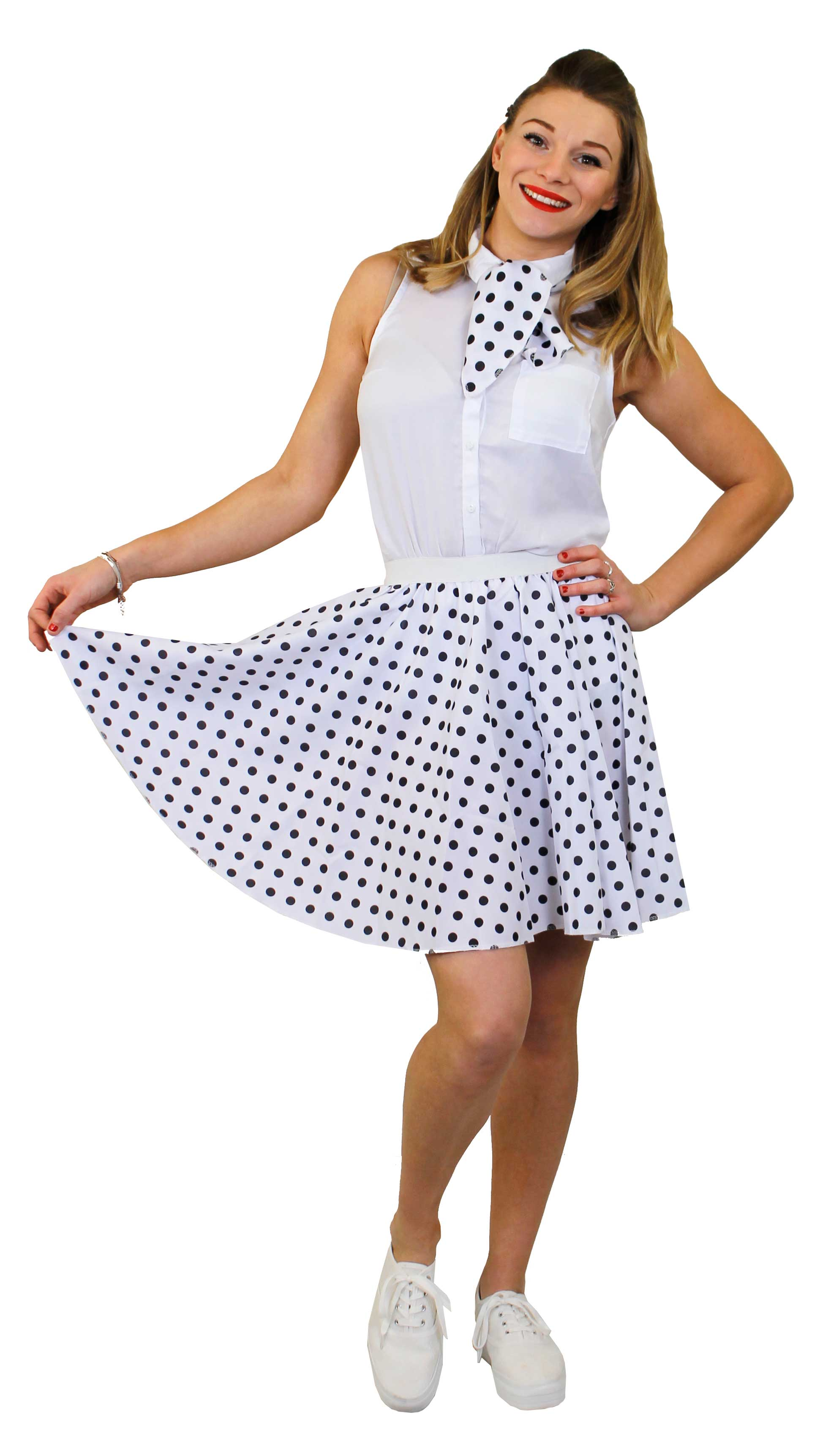 Ladies White 1950S Rock And Roll Skirts Sets