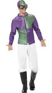 Jockey Costume. Green and Purple.  Costume includes top, trousers, bootcovers, hat and goggles.