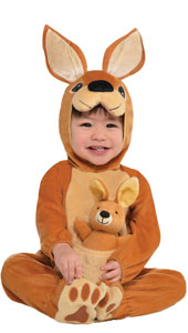 Baby Jumpin Joey Kangaroo Costume includes hood, jumpsuit, plush toy and booties