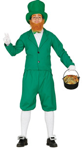 Leprechaun Costume includes jacket, jabot trousers, hat and beard