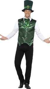 Mens Lucky Lad Costume includes waistcoat, mock shirt, bow tie and hat