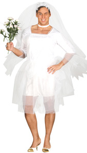 Male Bride Costume includes dress and veil.