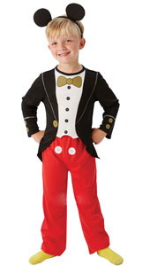 Mickey Mouse traditional tuxedo costume includes top with printed detail, trousers and headband with ears.