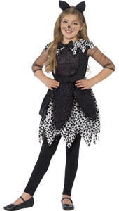 Girls Deluxe Midnight Cat Costume includes dress with attached tail and cats ears headband.