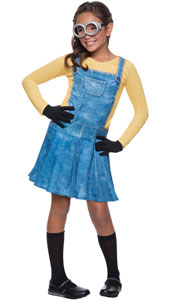 Girls Minion Costume includes a dungaree dress, knee socks, gloves and goggles.