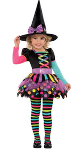 Miss Matched Witch Costume, includes Dress, Hat and Tights
