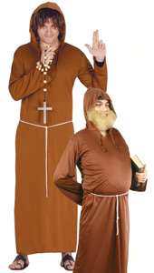 Monk Costume includes robe with hood and belt.