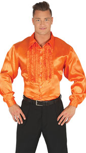 1970s Orange Disco Shirt with ruffles