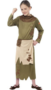 Horrible Histories Revolting Peasant Girl Costume includes dress and attached apron with pouch belt.
