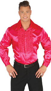 1970s Pink Disco Shirt with ruffles