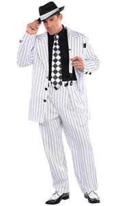 Pinstripe Daddy Costume features all over black-and-white pinstripes.  This suit has a sport coat with shiny black buttons and matching wide-leg pants.
