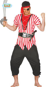 Overseas Pirate Costume includes shirt  belt  trousers and headband