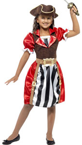 Girls Pirate Captain Costume, includes dress with mock waistcoat, hat and mock belt.