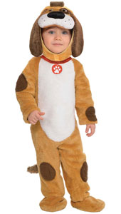 Playful Pup Costume includes hood, jumpsuit with attached tail and booties