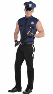 Under Arrest Costume includes a sleeveless blue police officer shirt  which is made of astretch material for a comfortable tight fit to show off your muscles.