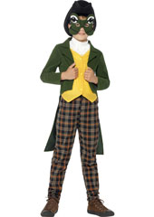 Deluxe Prince Charming Child Costume includes hat, mask, jacket, mock waistcoat, neckerchief and trousers.