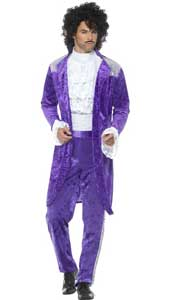 80s Purple Musician Costume includes jacket, mock shirt and trousers