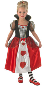 Dress up in this lovely Queen of Hearts Costume, inspired by the adventures of Alice in Wonderland.  Costume includes dress and tiara.