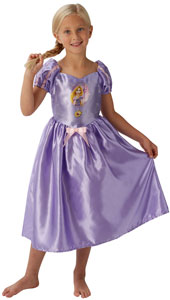 Fairytale Rapunzel Girls Dress Up Costume includes purple satin dress with a pink bow and puff sleeves