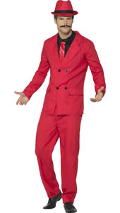 Mens Red Zoot Suit includes jacket, trousers, hat, mock shirt and tie