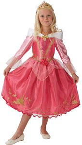 Storyteller Sleeping Beauty Costume includes satin dress with a character cameo and sparkly glitter storybook detail and tiara.