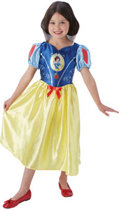 Fairytale Snow White Girls Dress Up Costume includes satin dress with a red bow and puff sleeves with glitter detail.