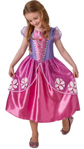 Sofia the First Girls  Dress Up Costume includes satin dress with glitter organza peplum and puff sleeves